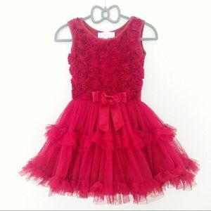Girl's Popatu Red Rosette Tutu Dress - XS 2-3T